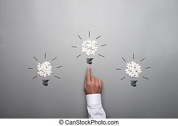 電球, ライト, 困惑, 形作られる, 分散させる, 3, 小片, ビジネスマン, 白, 手