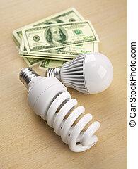 電球, ライト, 手形, ドル, 前部, 山