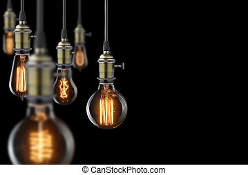 電球, ライト, 白熱, 黒い背景, 型