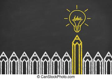 電球, ライト, 考え, 黒板, 背景, 概念