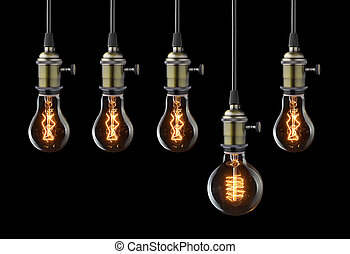 電球, ライト, concept., 考え, 黒, 型