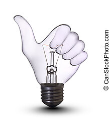 電球, ランプ, オーケー, 手