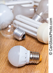 電球, リードした, 木製である, ランプ, 山, 板, 新しい, 古い