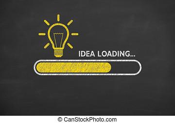 電球, ローディング, ライト, 考え, 黒板, 背景, 概念
