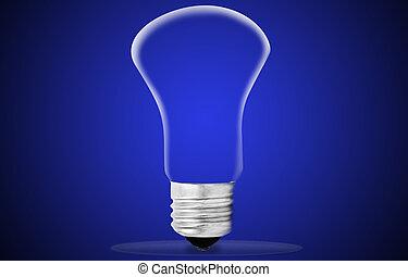 電球, 上に, 青い背景