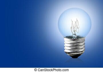 電球, 上に, 青, バックグラウンド。