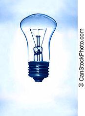 電球, 上に, a, 青い背景