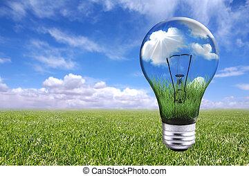 電球, 中に, 自然, 風景