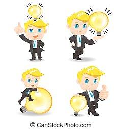 電球, 人, ビジネス, ライト