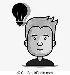 電球, 人, avatar, ライト