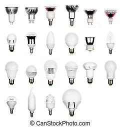 電球, 別, セット, リードした, 隔離された, ランプ, ほんの少し, ソケット