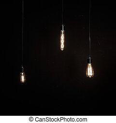 電球, 別, ライト, 明るい, 形, 白熱, 背景, 暗い