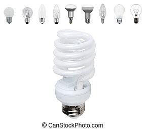 電球, 別, 古い, light-bulb, 現代, 隔離された, タイプ