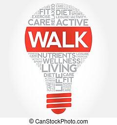 電球, 単語, 雲, 歩きなさい