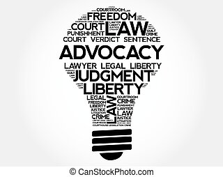 電球, 単語, advocacy, 雲
