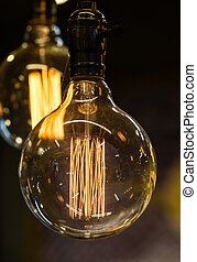電球, 古い, ライト, 白熱, 黒い背景