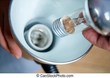 電球, 変化する, ランプ, ライト, 手, lamp., インストール, 終わり, 蛍光, の上, handyman, ライト