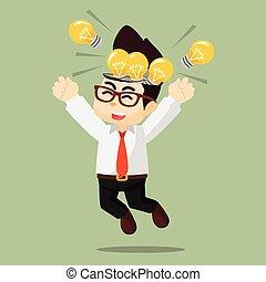 電球, 幸せ, 考え, ビジネス男