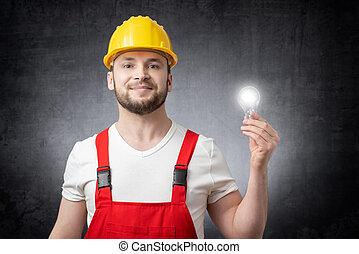 電球, 建築作業員, ライト