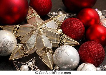 電球, 星, 金, 木, クリスマス, 赤