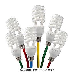 電球, 有色人種, ライト, -, 考え, 明るい, 付けられる, 蛍光, ケーブル, ネットワーク