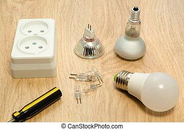 電球, 木製である, ライト, -, の上, ライト, 終わり, 白, テーブル。, ソケット
