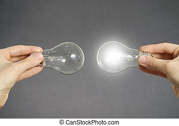 電球, 概念, ライト, 決定, 手, 作成