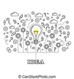 電球, 概念, ライト, 考え