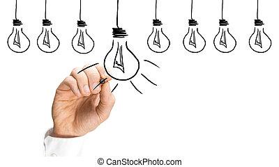 電球, 概念, 考え, インスピレーシヨン, ライト
