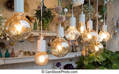 電球, 白熱, interior., ラウンド, ライト