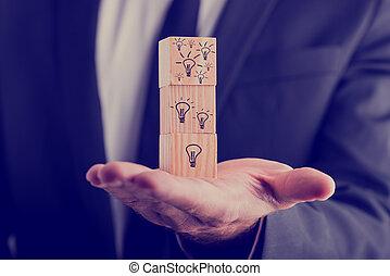 電球, 立方体, ライト, 保有物, 引かれる, ビジネスマン