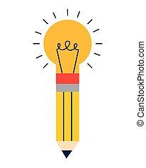 電球, 隔離された, 鉛筆, アイコン