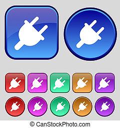 電的插頭, 力量, 能量, 圖象, 徵候。, a, 集合, ......的, 十二, 葡萄酒, 按鈕, 為, 你, design.