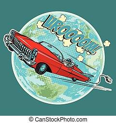 電的車輛, 由于, an, 宇航員, 飛行, 在, 空間, 在上方, 計劃