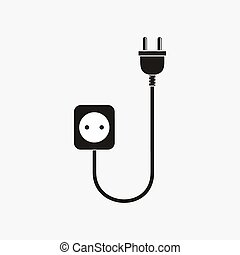 電線, 塞子, 以及, 插座, -, 矢量, illustration.