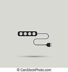 電線, 插座, 以及, 電的插頭, 矢量, 設計