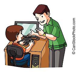 電腦, 學習, 孩子