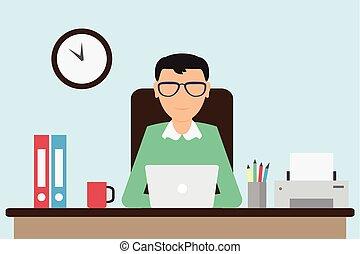 電腦, 工人, 運作的 辦公室