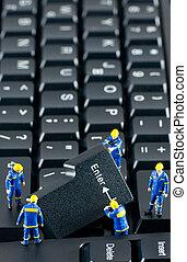 電腦, 工作, 工人, 鍵盤, 建設, 隊