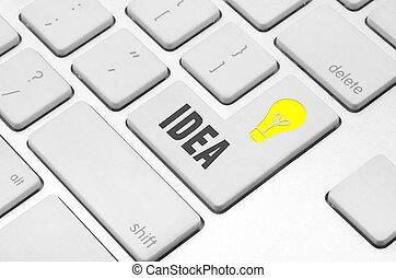 電腦, 想法, 鑰匙, 鍵盤