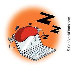 電腦, 插圖, 睡覺, 矢量, 背景, 白色