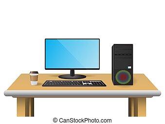 電腦, 桌子, 集合