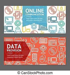 電腦, 網上通信, 飛行物, 旗幟, 海報, 卡片, set., 矢量
