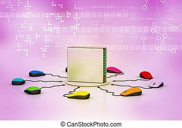 電腦 老鼠, 連線, 服務器