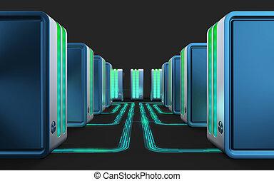電腦, networks., 雲, 計算, technology.