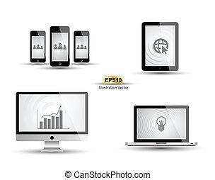 電腦, smartphone, 片劑, 矢量