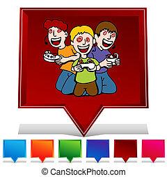 電視游戲, 沉迷, 孩子, 寶石, 按鈕, 集合