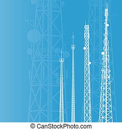 電訊聳立, 收音机, 或者, 流動電話基地, 矢量, 背景