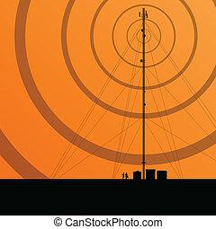 電訊, 收音机塔, 或者, 流動電話基地, 概念, 背景, 矢量