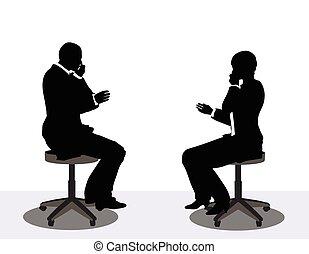 電話の女性, シルエット, ビジネス男